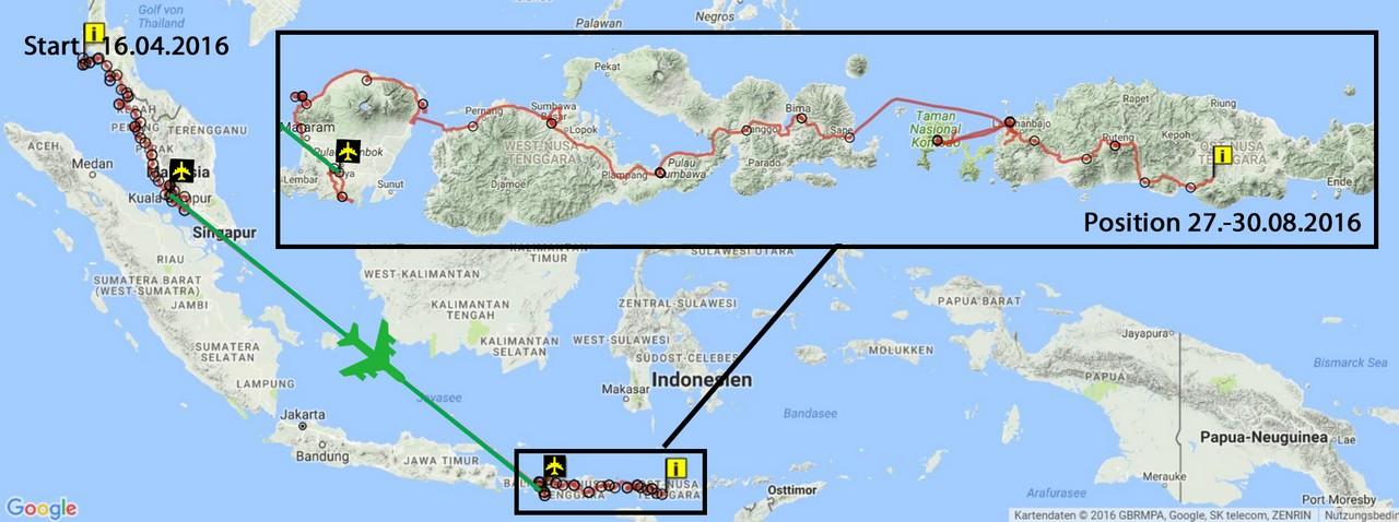 GPS Route Fahrrad-Tour durch Süd-Ost Asien (Stand 27.-30.08.2016)